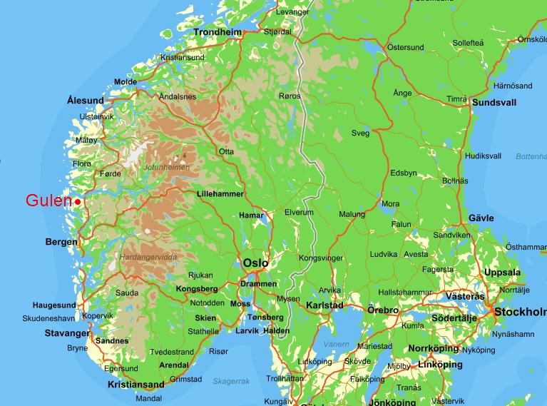 Gulen Nudibranch Safari - Norway map larvik